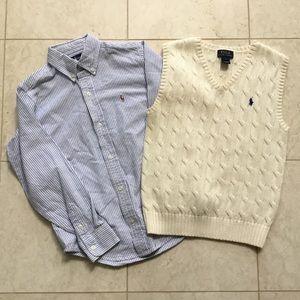 2 pc RALPH LAUREN blue stripe shirt Cream Vest 7